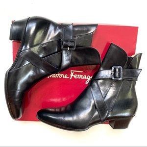 Salvatore Ferragamo Narrow Ankle Strap Black Boots